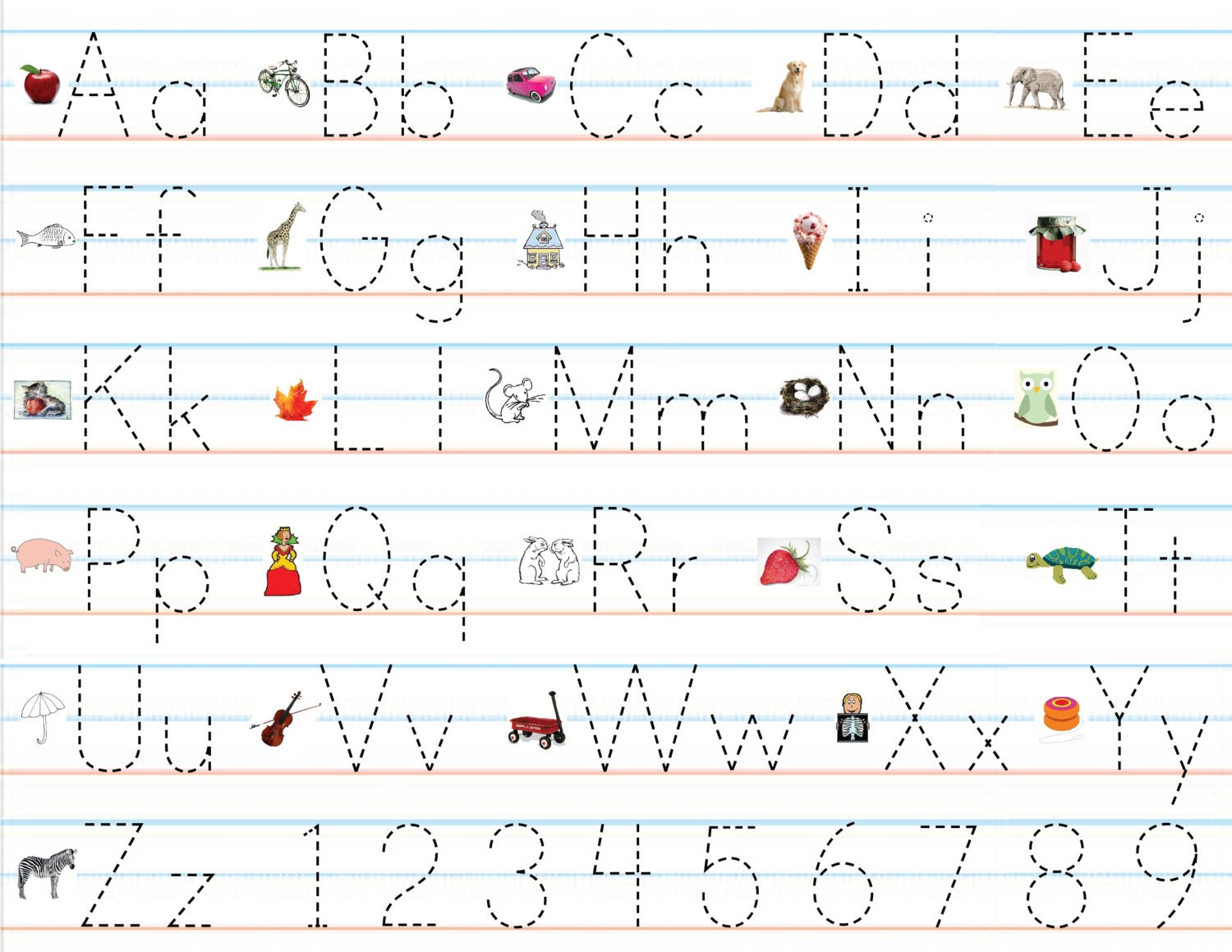Items similar to Laminated Alphabet & Number Sheets for Writing ...