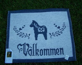 "Swedish/Scandinavian ""Valkommen"" Rug"