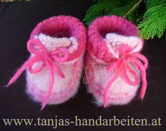 Felted Baby Girl Booties Knitting Pattern