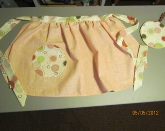peach polka dot apron