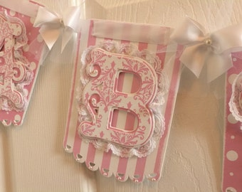 Name Banner / The Eliza Lace Trimmed Damask Pink And White Baby Girl Banner For Shower Photo Prop Or Nursery