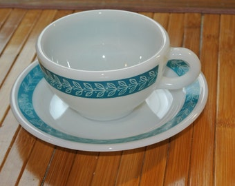 Vintage Pyrex teacups and saucers, Milk Glass, Bluegrass pattern (8 sets)