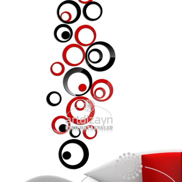 Wall Decor Red : Decorative wall decor red and black circle by walldecal