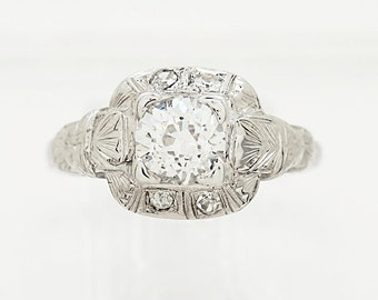 0.88ct. Diamond & 18K White Gold Art Deco Engagement Ring- J33237