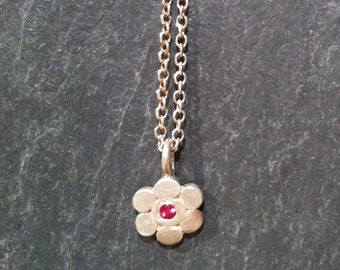 Flower Ruby Necklace, Sterling Silver Ruby Flower Necklace