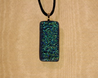 Green, gold and blue dichroic glass pendant