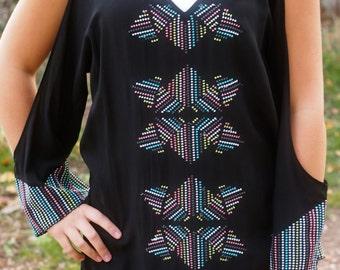 Cold Shoulder Black Embroidered Long SleeveTop