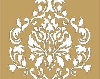 Damask - Reusable Stencils- Damask Design 5- Available in 16 Sizes- Create your own Pillows or use as a Wall Stencil