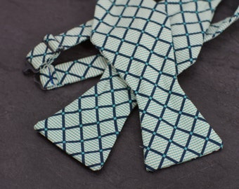 Handmade bow tie green classic checker self tie freestyle classic pattern colorful cotton bowtie