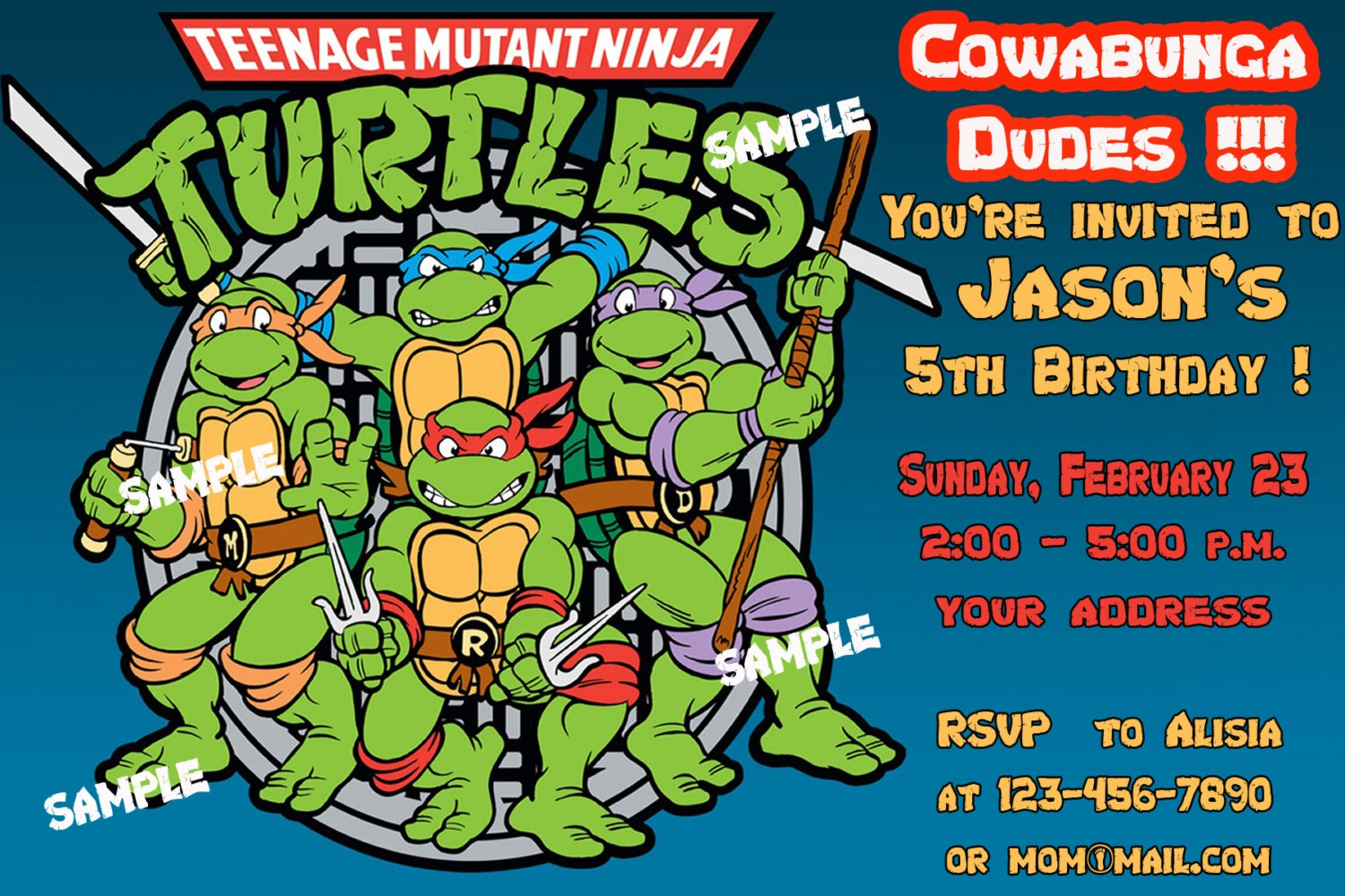 Teenage mutant ninja turtles invitations template - photo#24