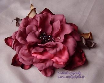 Handmade pink - lightcoral satin flower brooch, flower clip & pin