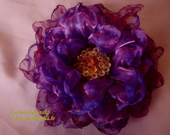 Handmade purple - violet organza flower brooch, flower clip & pin