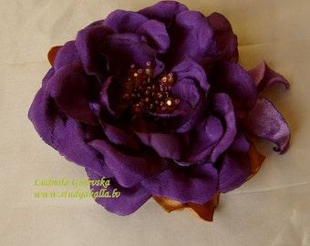 Handmade purple satin flower brooch, flower clip & pin