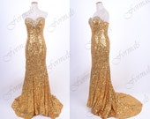 Gold Prom Dress, Sequin Prom Dresses, Mermaid Strapless Sequin Long Prom Dresses, Evening Gown, Sequin Evening Dresses, Formal Gown