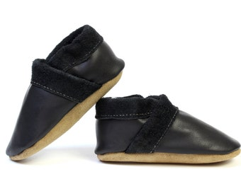 Baby Boy Leather Slipper Shoes Soft-Sole black Size 3 - 7