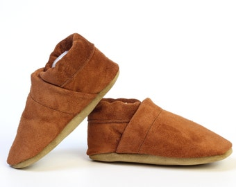 Baby Boy Girl Soft-Sole Shoes Leather Slipper brown suede Size 3 - 7