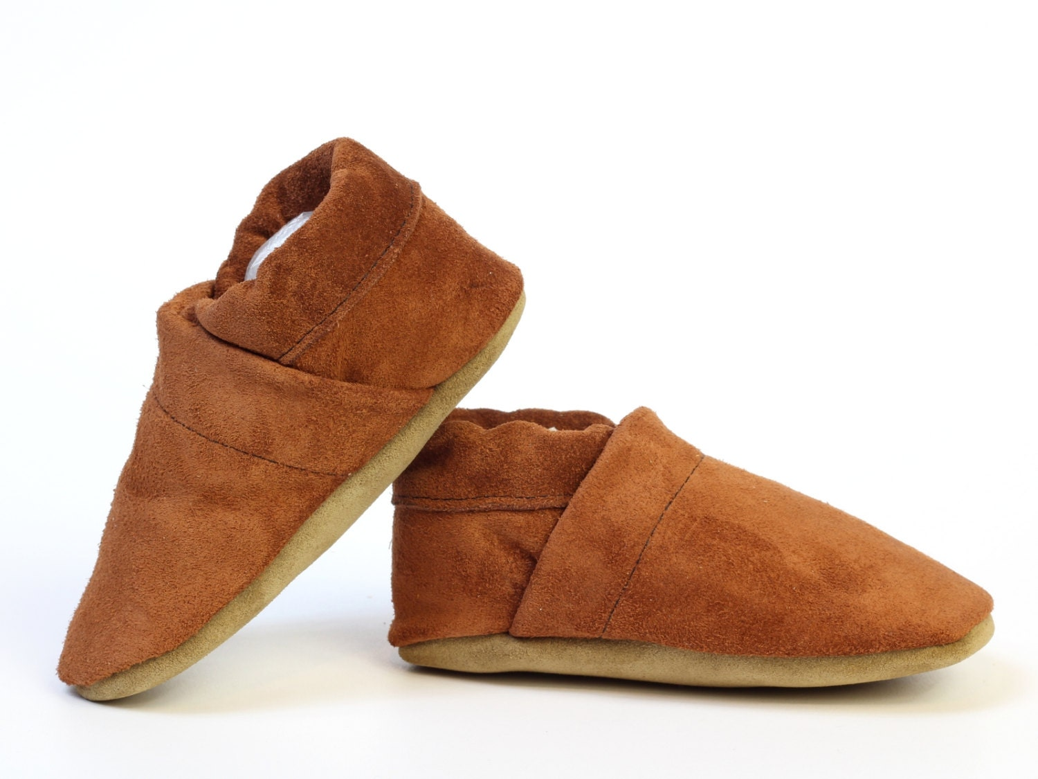 baby boy soft sole shoes leather slipper brown suede size