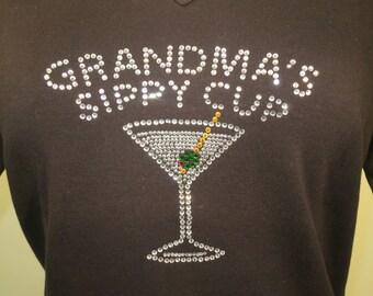 Grandma's Sippy Cup Rhinestone Shirt