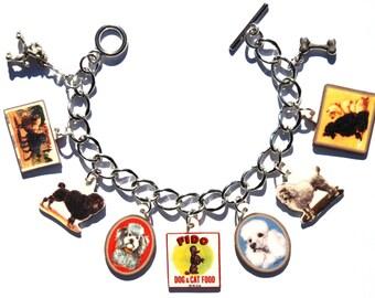 Handmade French Poodle Dog Charm Bracelet Vintage Altered Art Label Pewter Charms