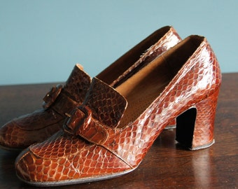 Lovely Vintage PYTHON genuine SNAKE leather shoes, 80's, size 36, 5,5 geuine python leather