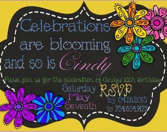 Blooming Flowers Birthday Invitation Customizable Template