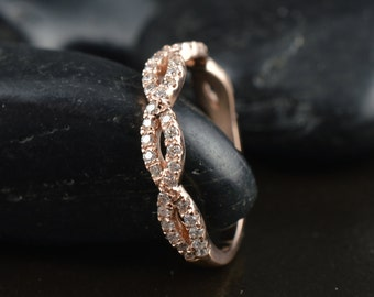 Infinity Twist Pavé Diamond Band in 14k Rose Gold, 5/8 Eternity, 0.33ctw, 3.5mm Wide, 5 Diamond Twists, Sparkly Diamond Wedding Band, Hailey