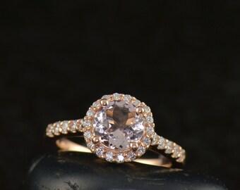 Bella - Morganite & Diamond Engagement Ring in Rose Gold, Round Brilliant Cut in Diamond Halo, Prong Set Diamond Band, Free Shipping