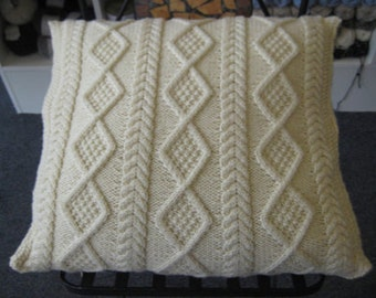 Free Aran Cushion Knitting Patterns : Viviennes Knitted Aran Cushion Pattern. I designed this for my friend Vi...