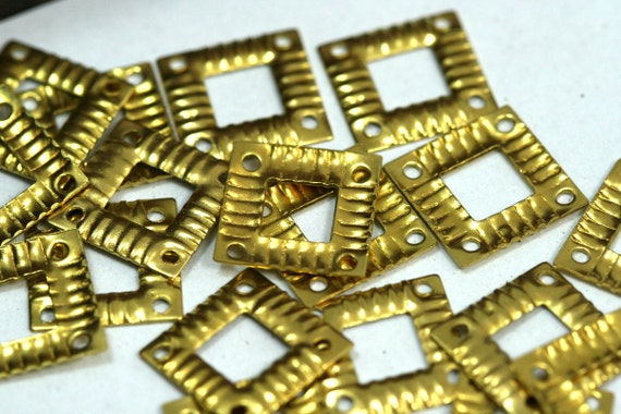 60 pcs raw brass 13 mm square tag two 4 hole connector charms, findings 150R-28