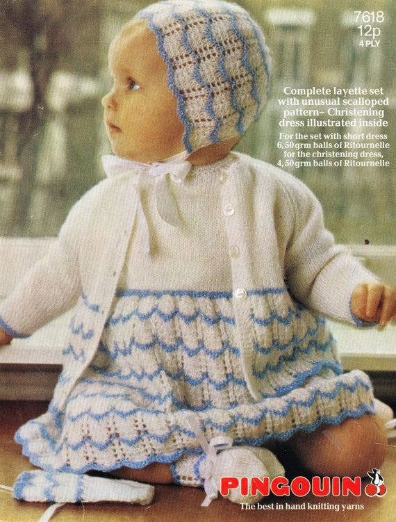Pingouin 7618 baby matinee coat set vintage knitting by Ellisadine