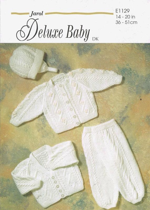 baby cardigan hat pram suit vintage baby knitting pattern PDF