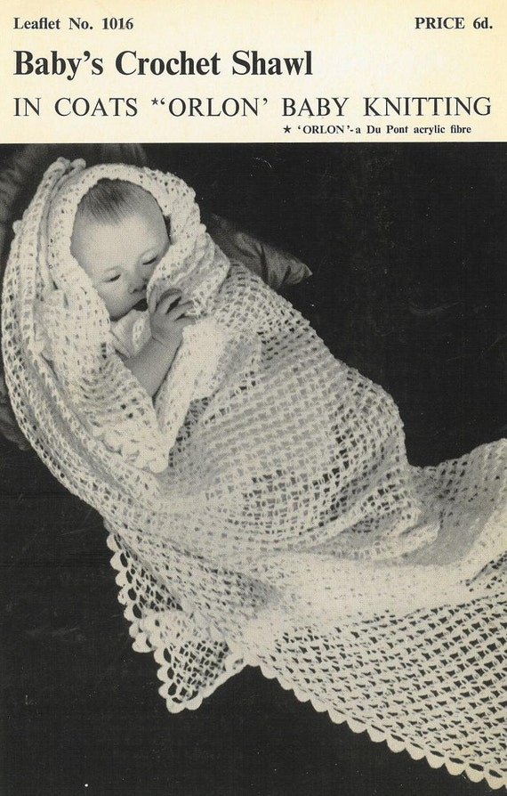 Crochet Patterns For Shawls Vintage : Coats 1016 baby shawl vintage crochet pattern PDF by ...