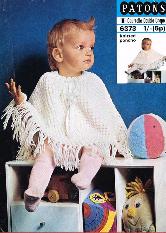 Patons 6373 baby poncho vintage knitting pattern PDF instant