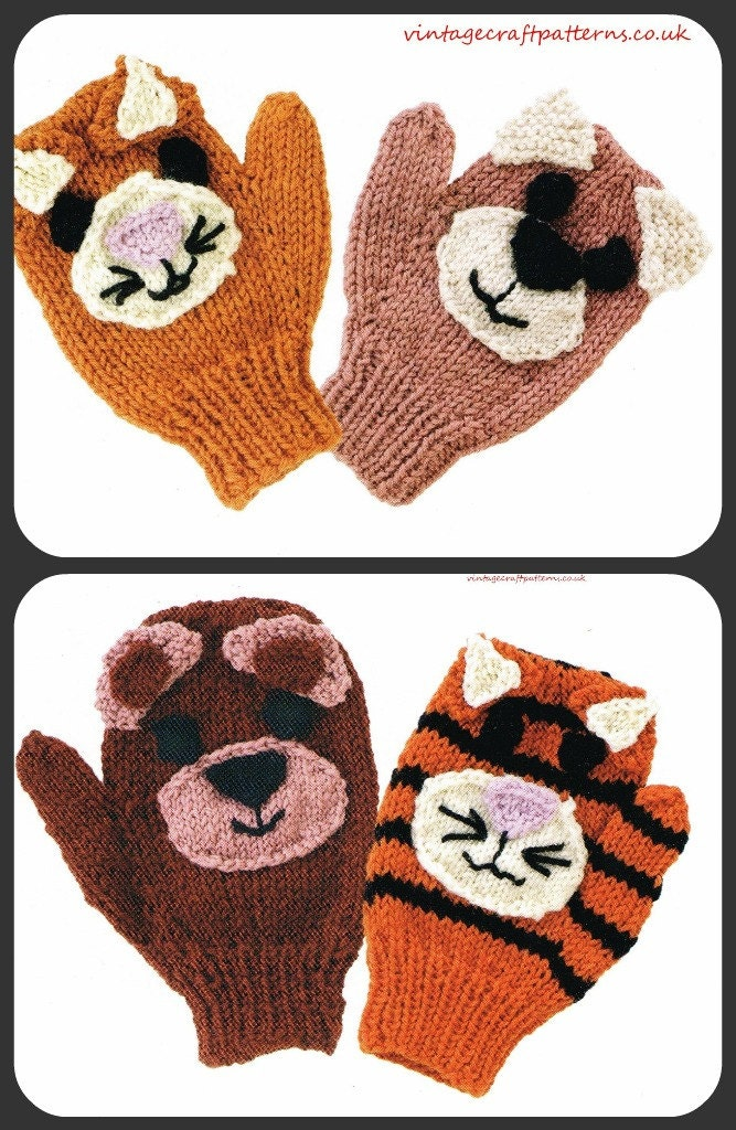 Animal Mittens baby gloves vintage knitting pattern by Ellisadine