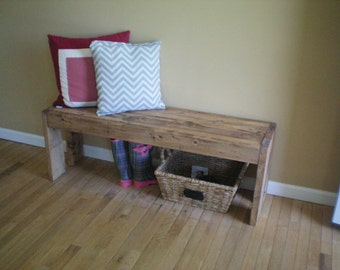 Walnut Stained Farmhouse Bench