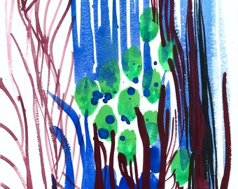 Original gouache painting: Blue Dream Reeds