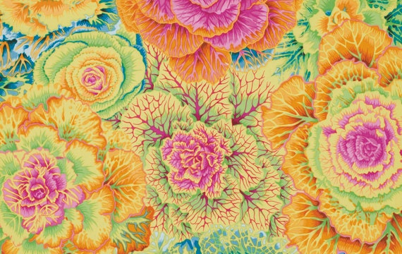 BRASSICA YELLOW PJ51 Philip Jacobs for Kaffe Fassett Sold in 1/2 yd increments