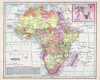 Print of Map-Africa 1892