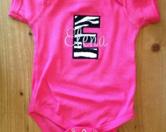 Hot Pink Zebra Initial Shirt or Baby Bodysuit