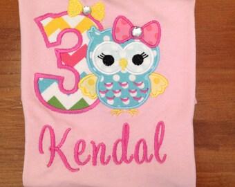 Bright Girly Owl Birthday Shirt or Baby Bodysuit