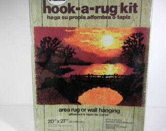 Vintage Hook A Rug Kit Sunset Over Bridge