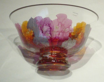 Art Glass Bowl Mouthblown Vintage Hand Made in Romania