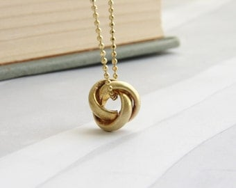 Nautical knot necklace, love knot charm, vintage tiny brass knot charm necklace, Valentine's gift, love knot necklace gift for her