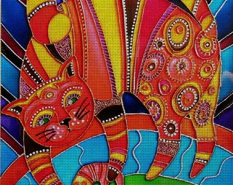 """Needlepoint canvas """"Multicolored cat"""" (AIV026)"""