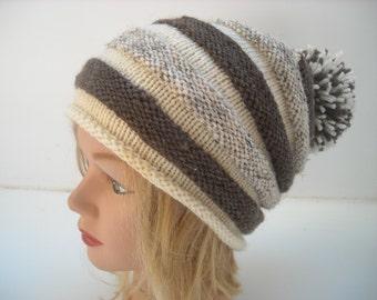 beanie hat stripes,wool, slouchy beanie with pom pom #121