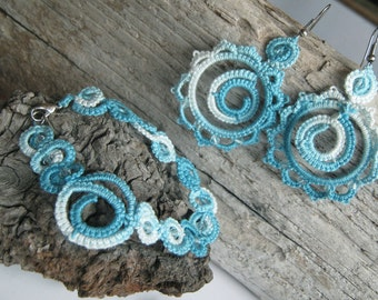 Sea memories - Tatted bracelet and earrings - OCCHI, Frivolité, Lace tatting,Chiacchierino,Frywolitki,