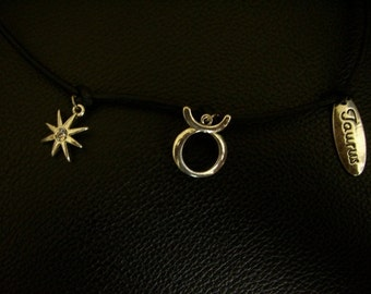 Taurus Themed Silver Plated Charms Necklace