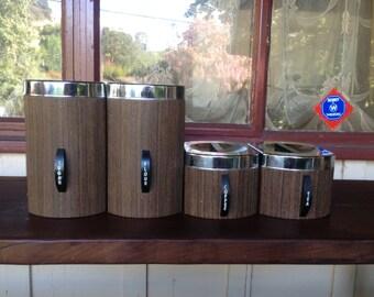 vintage 1970's KROMEX coffee tea sugar flour canisters wood chrome