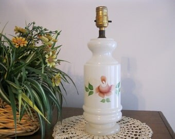 Hand-Painted Table Top Milk Glass Electric Lamp