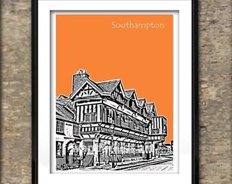 Southampton Art Print Poster A4 Size City Centre Tudor House UK England